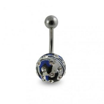 Buy Multi Colored painted Crystal ball Banana Bar Belly Ring online