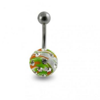 Buy Multi Colored painted Crystal ball belly Ring online