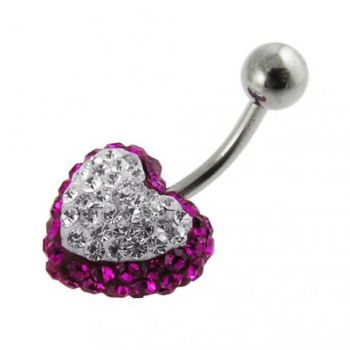 Buy Crystal stone Heart Belly Banana Barbell Body Ring FDBLY332 online