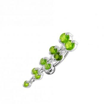 Buy Jeweled Fancy Reverse Silver Dangling Curved Bar Belly Ring online