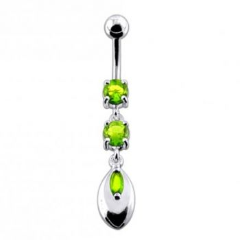 Buy Pink Jeweled Fancy Silver Dangling SS Banana Belly Ring online