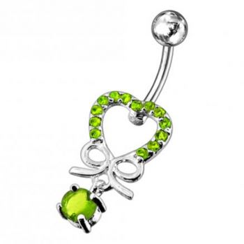 Buy 925 Sterling Silver Jeweled Fancy Dangling SS Curved Bar Belly Ring PBM1731 online