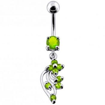 Buy 925 Silver Jeweled Fancy Dangling 316L SS Bar Belly Ring PBM1730 online