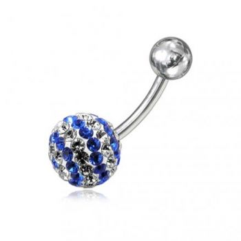 Buy White And Blue Crystal stone With 316L SS Bar Belly Ring FDBLY251 online