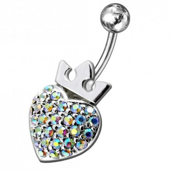 Buy Fancy Jeweled Princes Heart Silver Belly Ring online