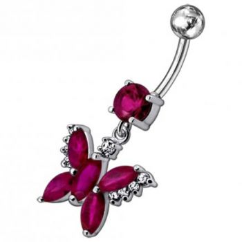 Buy Jeweled Butterfly Dangling Belly Button Ring PBM1669 online