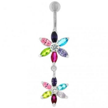Buy Silver Jeweled Flower Dangling SS Curved Belly Ring online