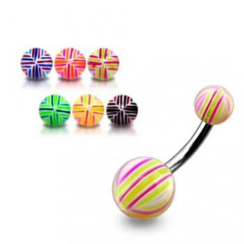Buy SS Banana Bar Belly Ring With UV Lines Ball online