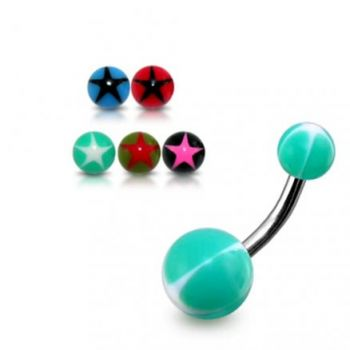 Buy SS Banana Belly Ring with Pearl Shade UV Balls online