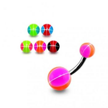 Buy SS Belly Curved Bar With Pink Glittered UV Balls online