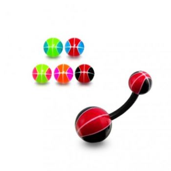 Buy UV Belly Curved Bar With Black And Red Color UV Balls online