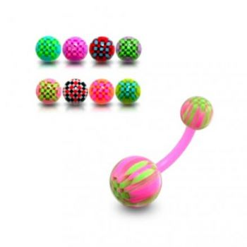 Buy UV Belly Curved Bar With Mix Colorful UV Balls online