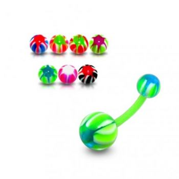 Buy UV 10mm Banana Bar Belly Ring Body Jewelry With Mix Color UV Balls online