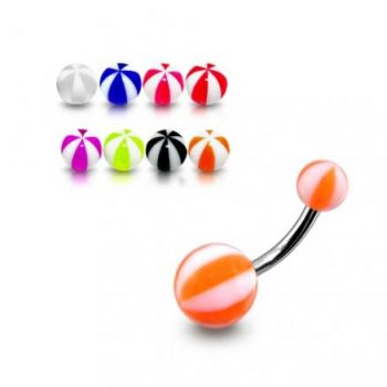 Buy SS Belly Banana Bar With White And Orange UV Balls online