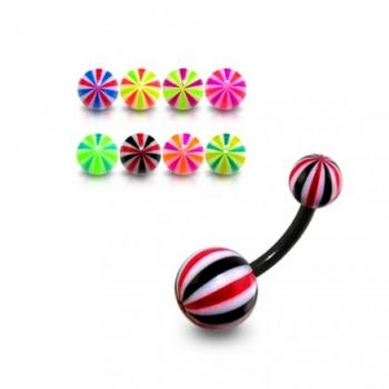 Buy 10mm UV Belly Banana Bar Ring Body Jewelry With Multi Lines Colorful UV Balls online