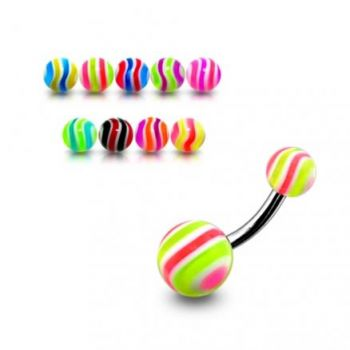Buy SS Belly Banana Ring With Multi Color UV Balls online