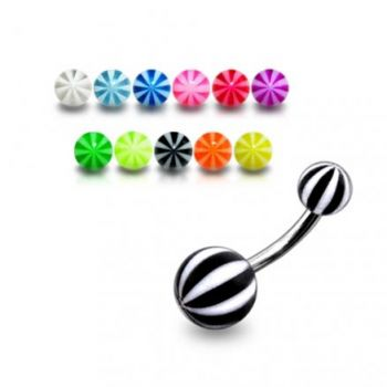 Buy SS Belly Banana Bar With Black And White UV Balls online