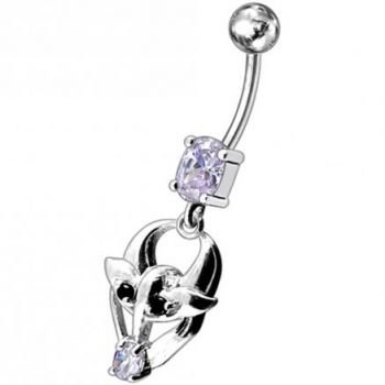 Buy Fancy Jeweled Gothic Skull Silver Dangling With SS Bar Belly Ring online