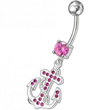 Buy Fancy Jeweled Anchor And Cross Dangling Curved Belly Ring online