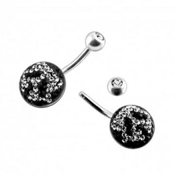 Buy Silver Crystal Stone Jeweled SS Bar Belly Ring online