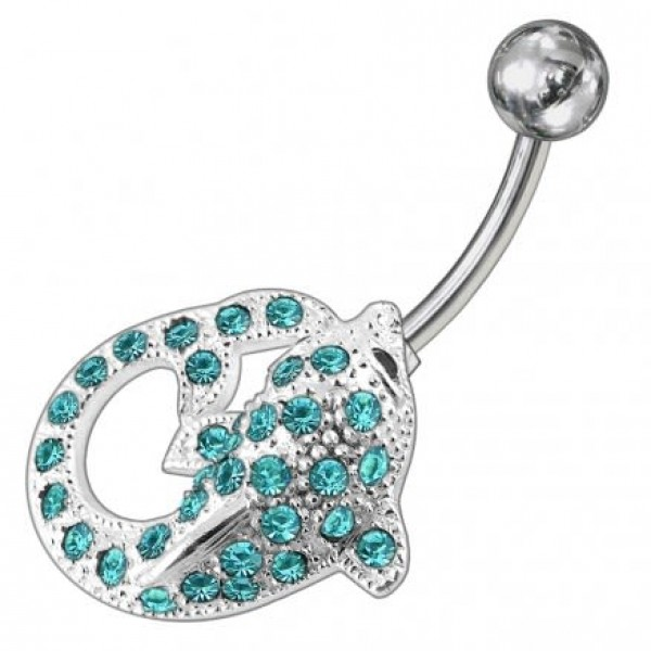 Buy Fancy Jeweled Dolphin Non-Moving Belly Ring online