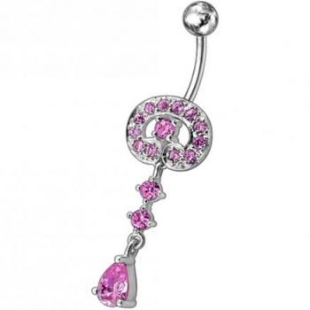 Buy Fancy Vintage Indian Jewelry Jeweled Silver Dangling SS Bar Belly Ring online