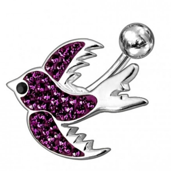 Buy Fancy Jeweled Silver BIRD Non-Moving SS Banana Bar Belly Ring online