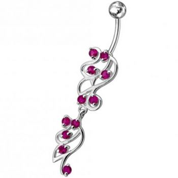 Buy Fancy Sky Blue Color Stone Studded Dangling SS Bar Belly Ring online