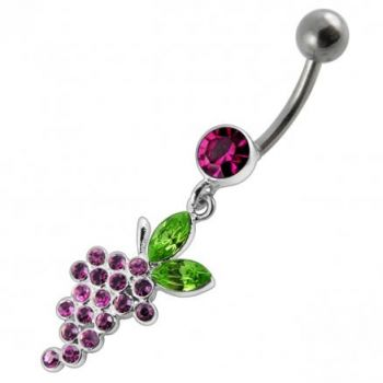 Buy Fancy Red Cherry Stones Jeweled Dangling Curved Bar Belly Ring online