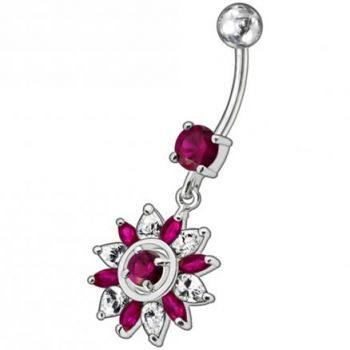 Buy Fancy Blue And White Royal Flower Jeweled Dangling SS Bar Belly Ring online