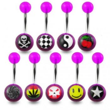 Buy 316L Mix SS Belly Banana Ring With UV Logo Balls online