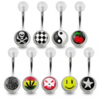 Buy Surgical Steel Belly Banana Barbell With UV Logo Balls online