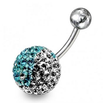 Buy Multi Color Crystal Stone Jeweled Silver With 316L SS Belly Ring online