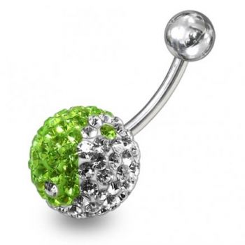 Buy Green And White Crystal stone Jeweled SS Banana Bar  Belly Ring FDBLY233 online