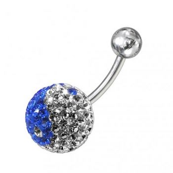 Buy Blue And White Classic Crystal Stone Banana Belly Ring online