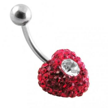 Buy Red Crystal stone With White Dotted Heart SS Banana Bar Belly Button Ring online