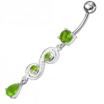 Buy Fancy White Jeweled Dangling 316L SS Bar Belly Ring PBM1585 online