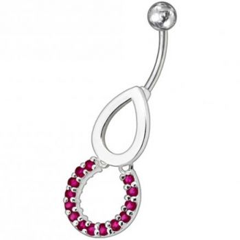 Buy Pear Jeweled Fancy Round Dangling Belly Ring online