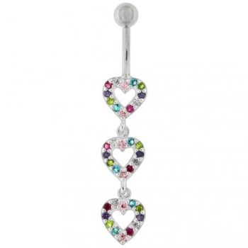 Buy Tripple Heart Dangling Fancy Multi Jeweled Cuved Bar Belly Ring online