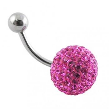 Buy Pink Crystal stone Ball With 316L SS Bar  Belly Ring FDBLY173 online