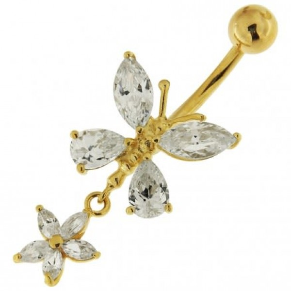 Buy Dangling Jeweled Butterfly 14K Gold Belly Ring online