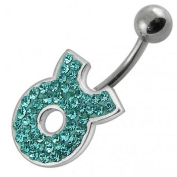 Buy Fancy White CZ Jeweled Silver Non-Moving SS Banana Bar Belly Button Ring online