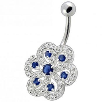 Buy Fancy White And Red Stone Jeweled Silver Non-Moving Titanium Bar Belly Ring online