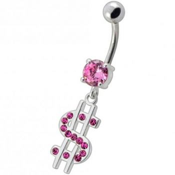 Buy Fancy Jeweled $ Sign Dangling Belly Ring online
