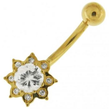Buy 14K Gold Flower Shaped Jeweled Belly Ring online