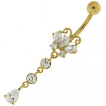 Buy 14K Gold Belly Ring Butterfly Dangling Jeweled online