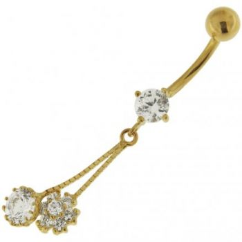 Buy Flower Dangling 14K Gold Belly Ring With Zirconia online