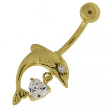 Buy Jumping Dolphin with Dangling Jeweled Heart 14K Solid Yellow Gold Belly Ring online