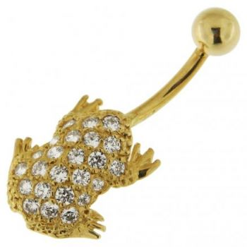 Buy Frog Jeweled 14K Gold Belly Ring online