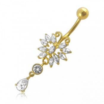 Buy 14G Dangling Jeweled 14K Gold Curved Bar Belly Ring online